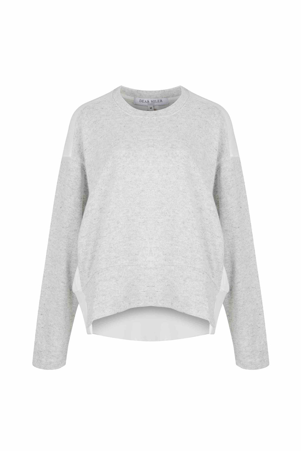 Front view of Women Fabric Block Sweater, made with Organic Cotton and wool blends in white/melange grey