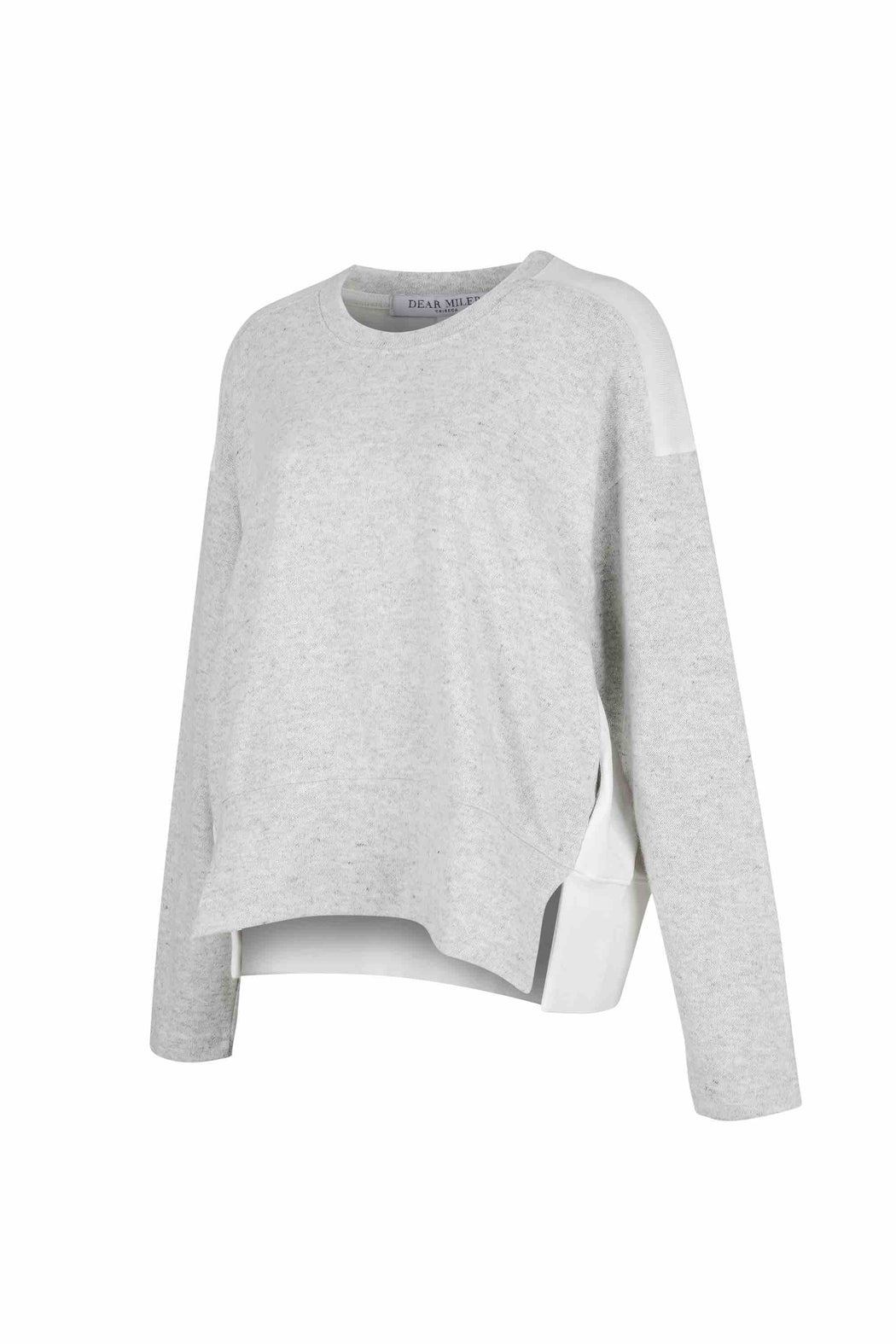 Side view of Women Fabric Block Sweater, made with Organic Cotton and wool blends in white/melange grey