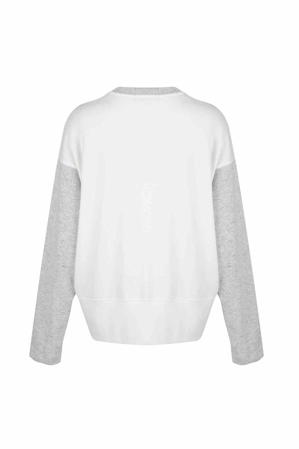 Back view of Women Fabric Block Sweater, made with Organic Cotton and wool blends in white/melange grey