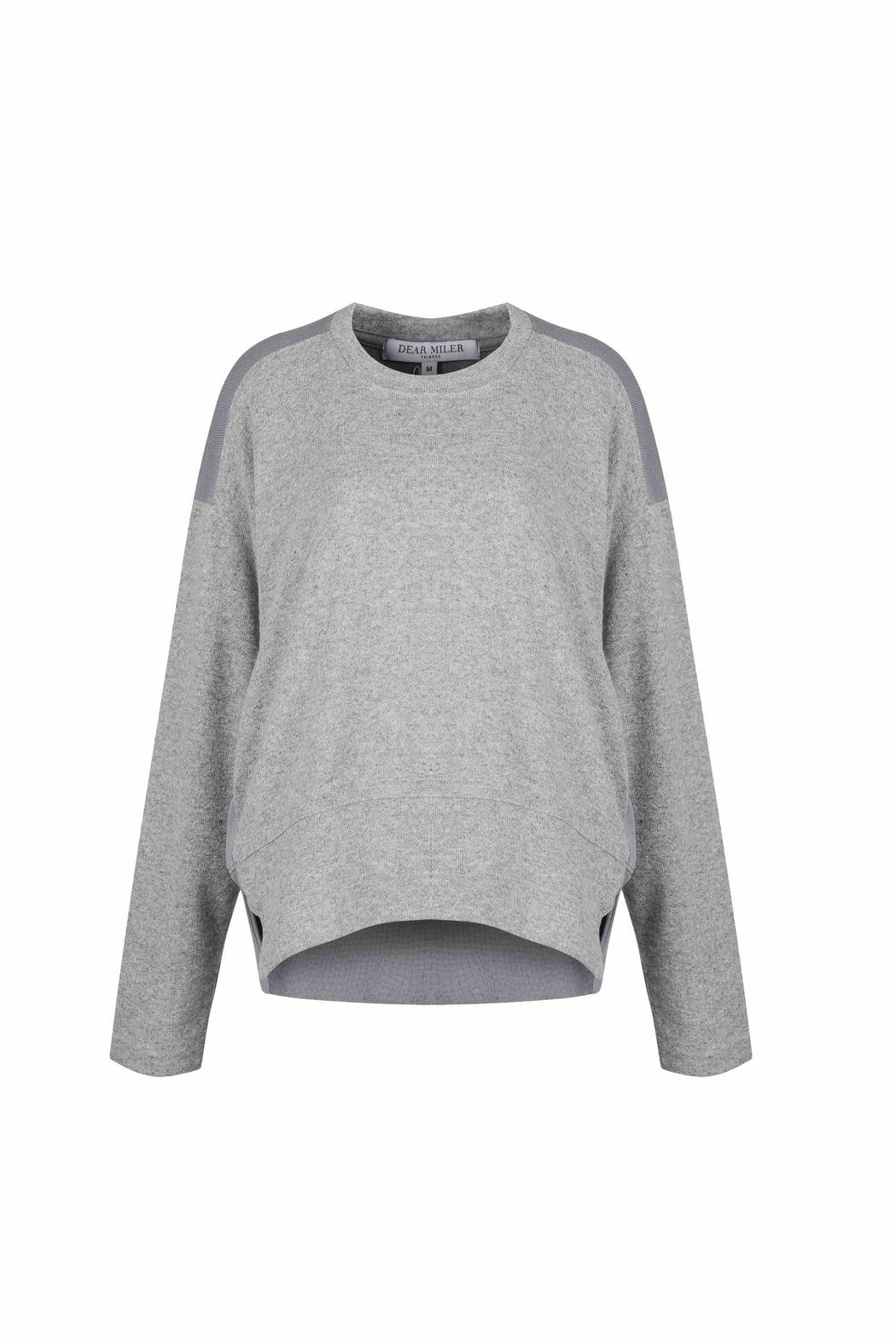 Front view of Women Fabric Block Sweater, made with Organic Cotton and wool blends in grey/melange grey