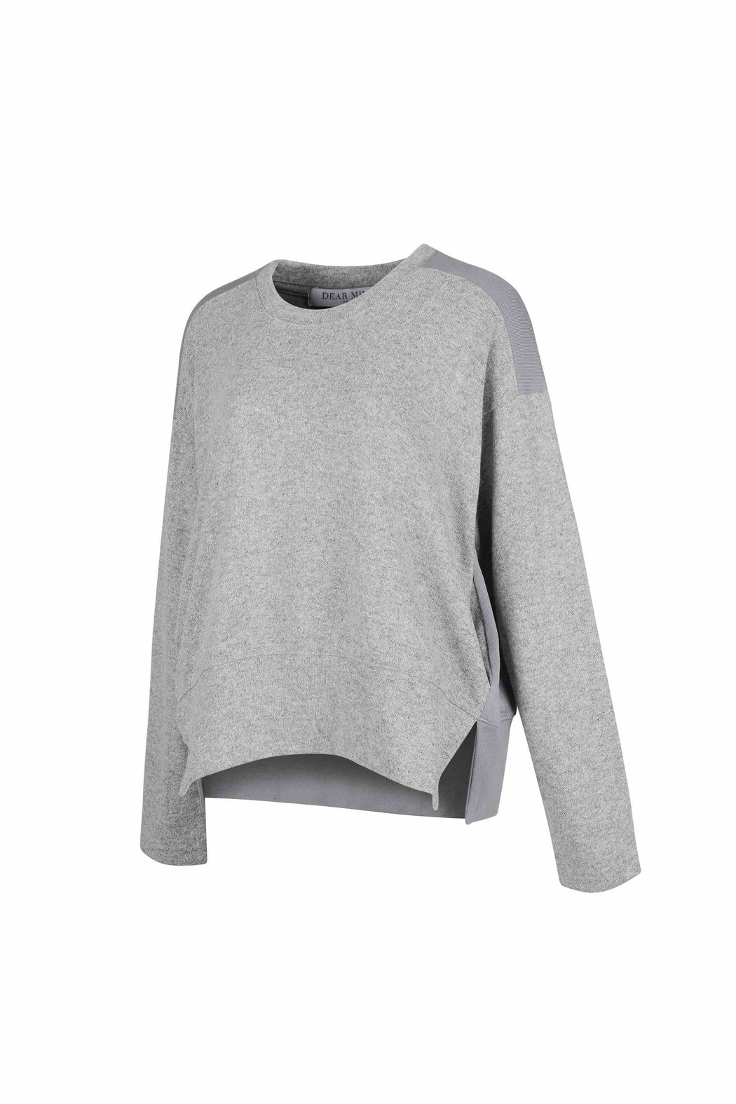 Side view of Women Fabric Block Sweater, made with Organic Cotton and wool blends in grey/melange grey