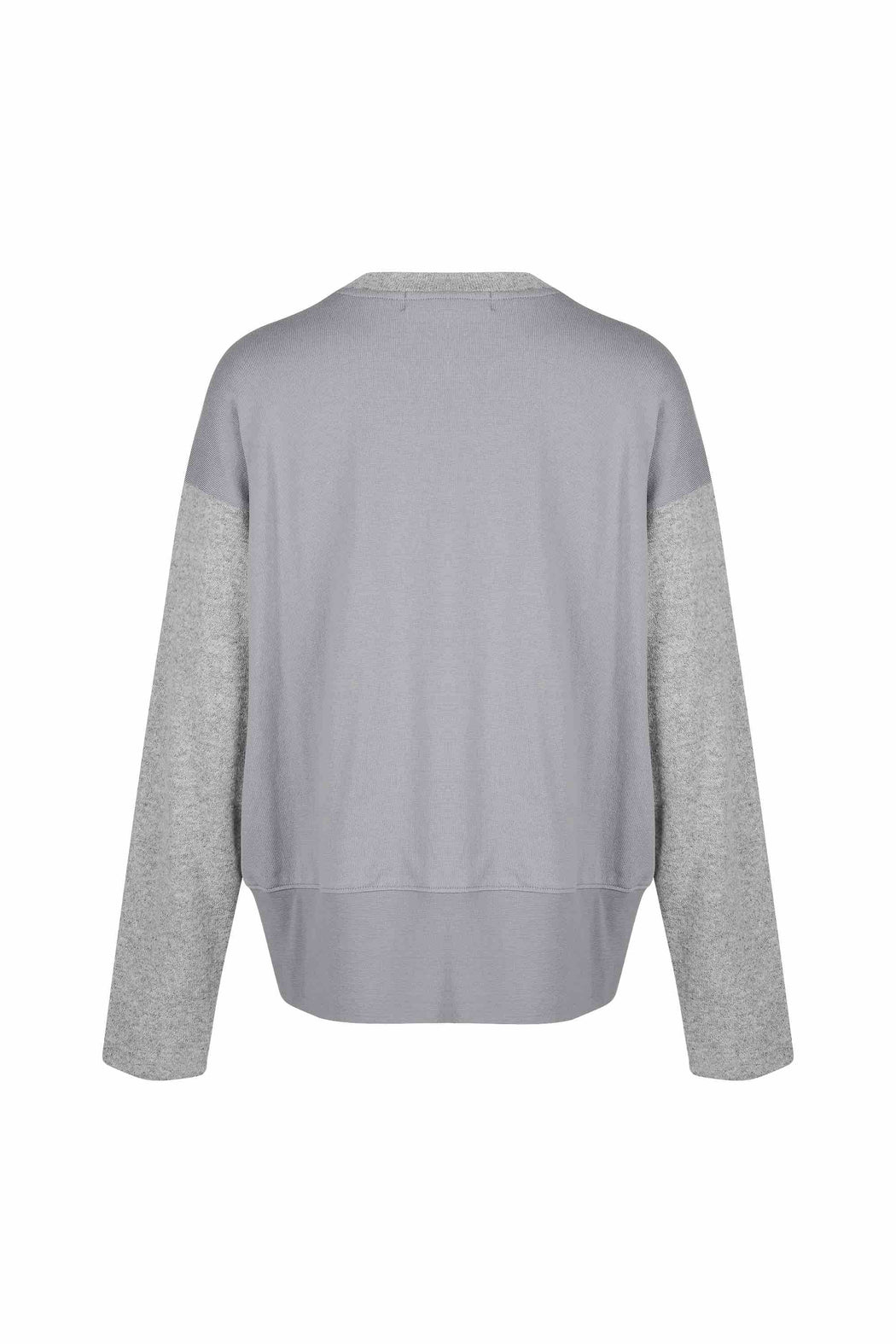 Back view of Women Fabric Block Sweater, made with Organic Cotton and wool blends in grey/melange grey
