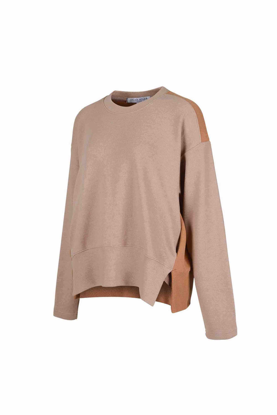 Side view of Women Fabric Block Sweater in light brown/caramel