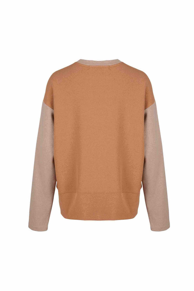 Back view of Women Fabric Block Sweater in light brown/caramel