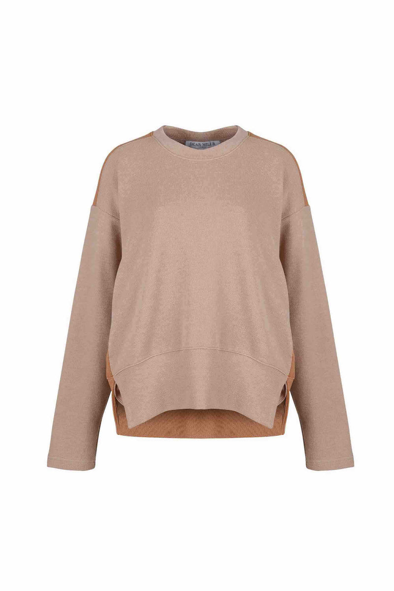 Front view of Women Fabric Block Sweater in light brown/caramel