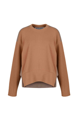 Front view of Women Fabric Block Sweater in caramel/ light brown