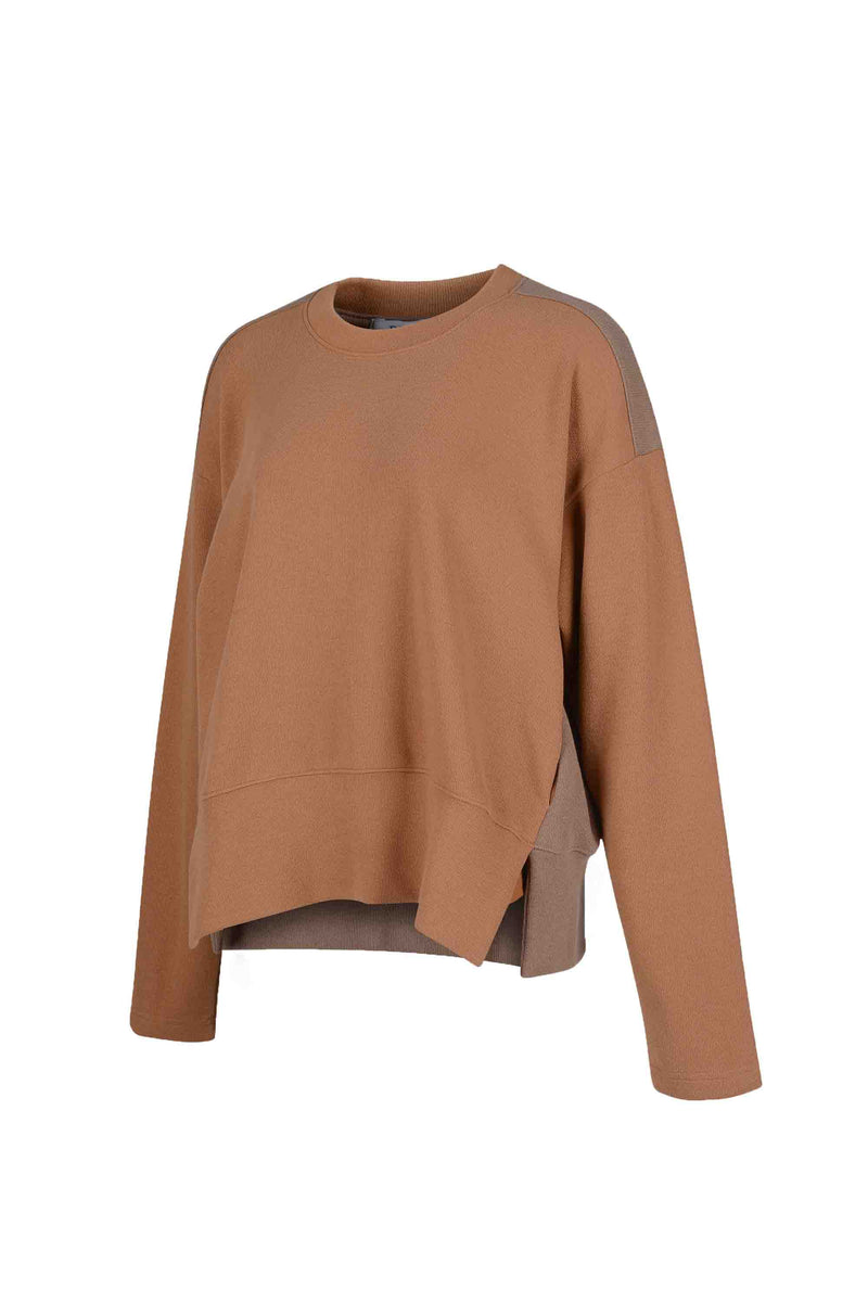 Side view of Women Fabric Block Sweater in caramel/ light brown