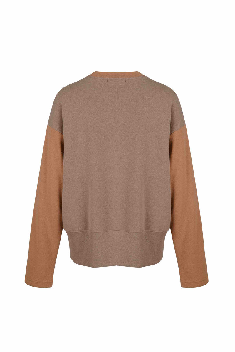 Back view of Women Fabric Block Sweater in caramel/ light brown