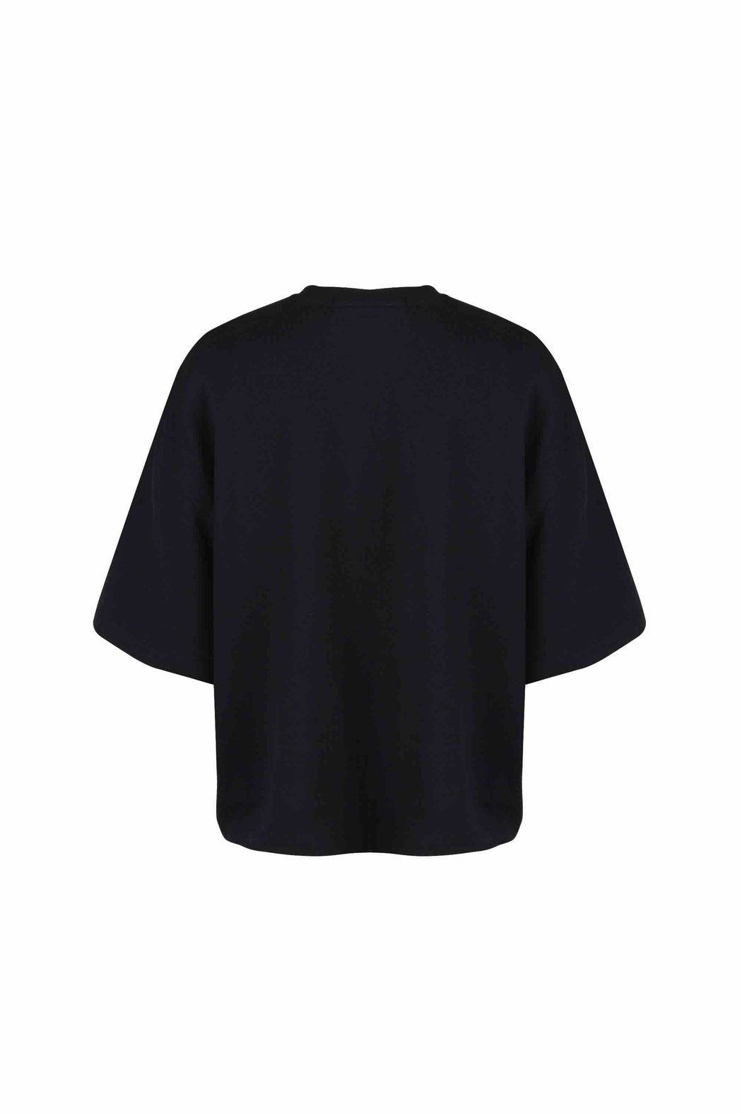 Back view of Women Bead Trim Pocket T-Shirt made with Organic Cotton in Black