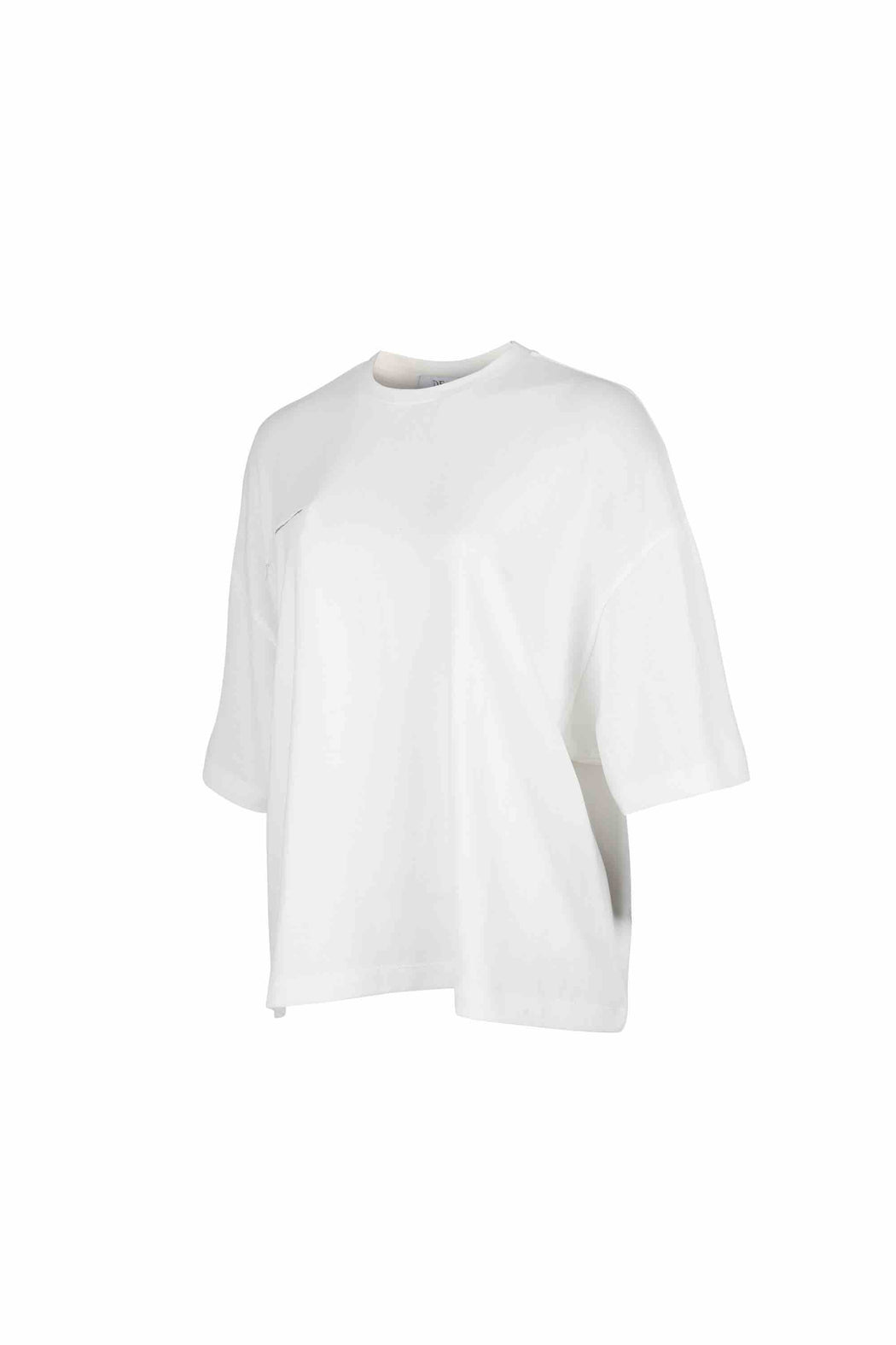 Side view of Women Bead Trim Pocket T-Shirt made with Organic Cotton in White