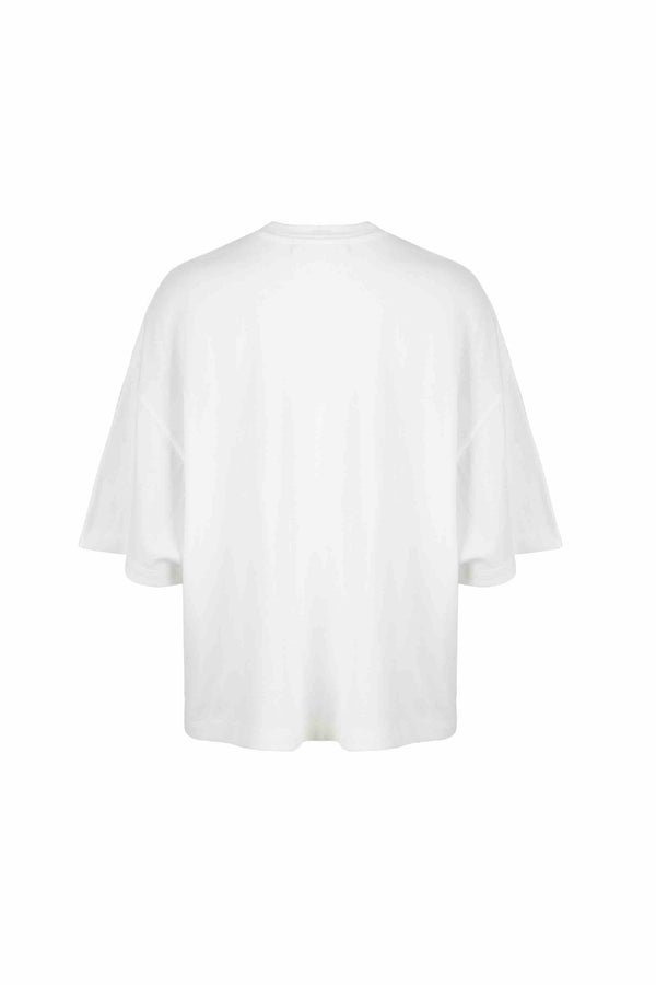 Back view of Women Bead Trim Pocket T-Shirt made with Organic Cotton in White