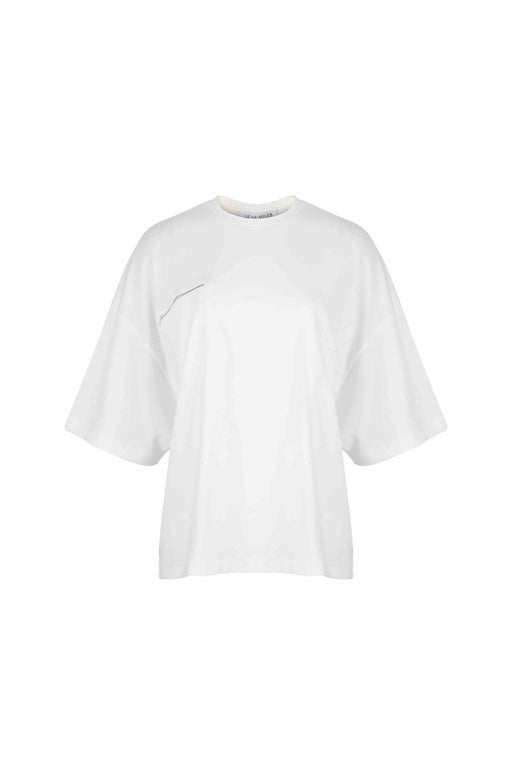Front view of Women Bead Trim Pocket T-Shirt made with Organic Cotton in White