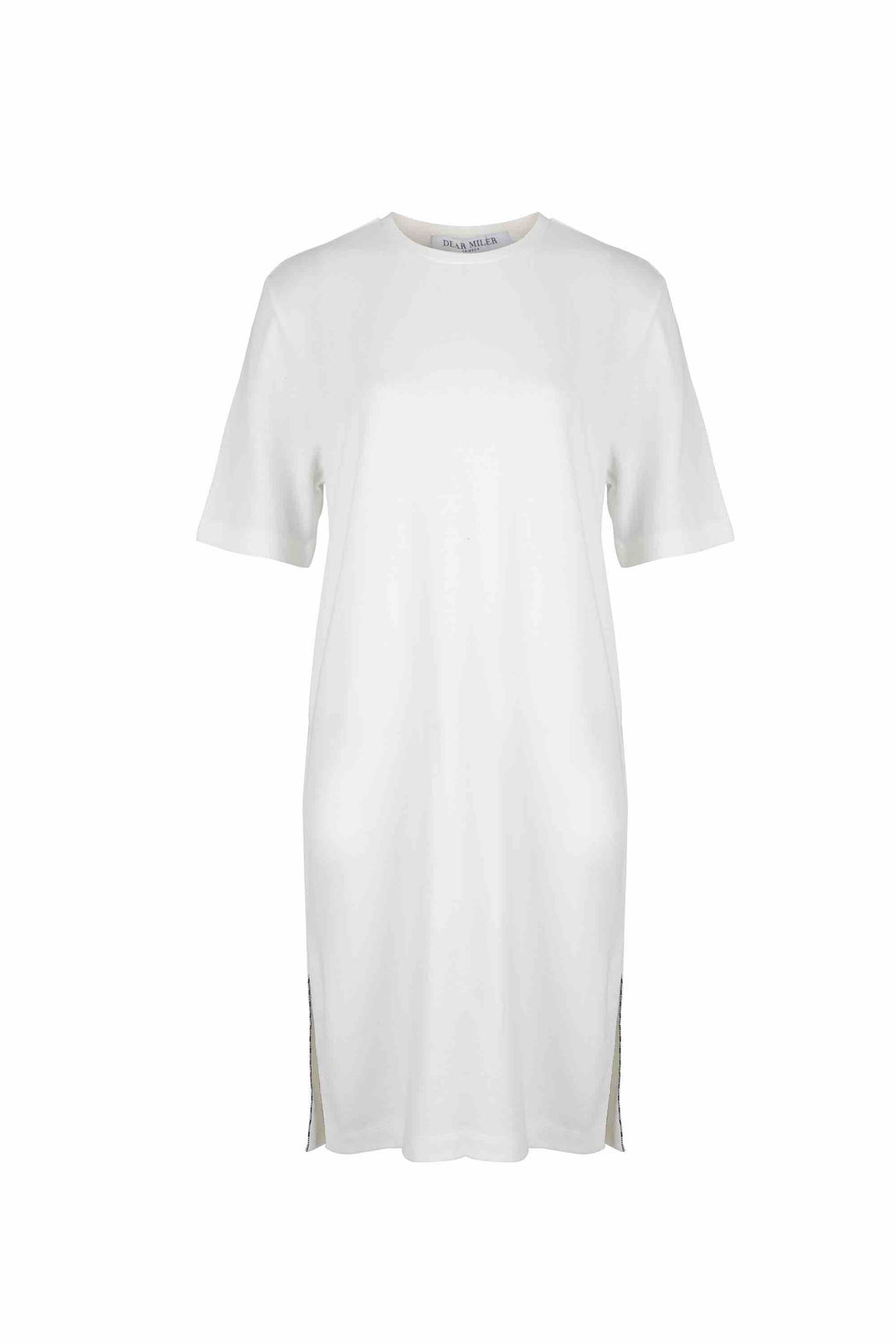 Front view of Women Side Slit Long T-Shirt, made with Organic cotton in White