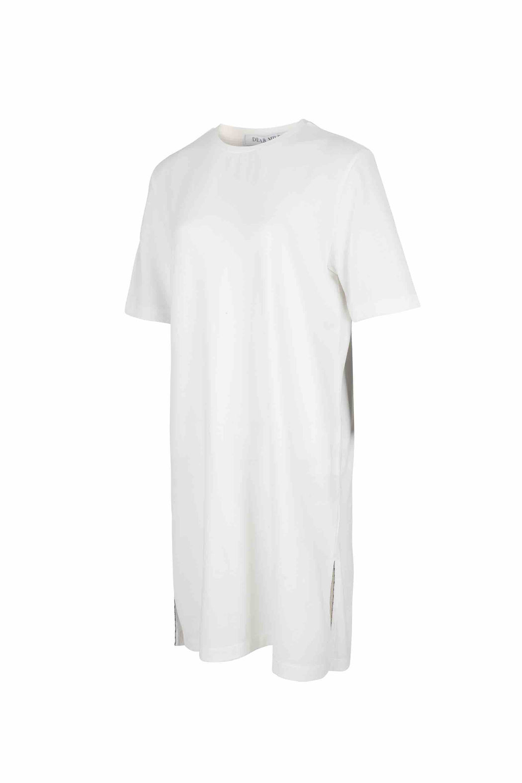 Side view of Women Side Slit Long T-Shirt, made with Organic cotton in White