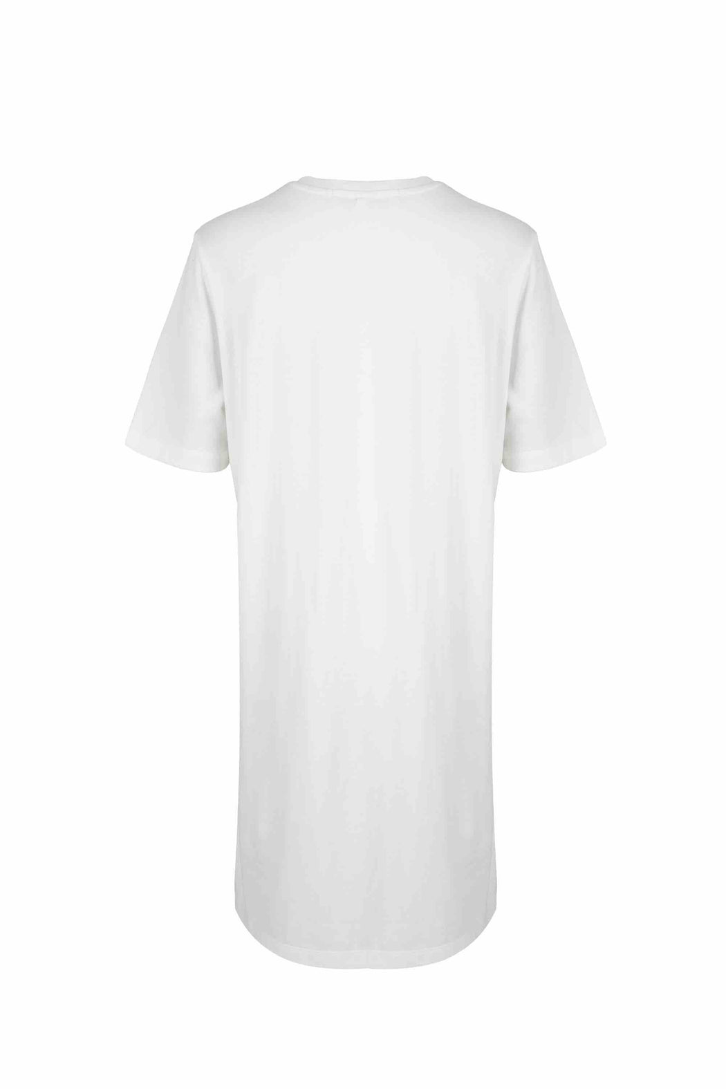 Back view of Women Side Slit Long T-Shirt, made with Organic cotton in White