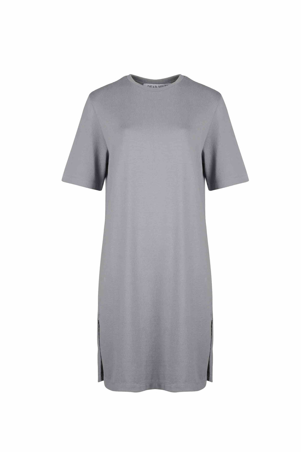 Front view of Women Side Slit Long T-Shirt, made with Organic cotton in Grey