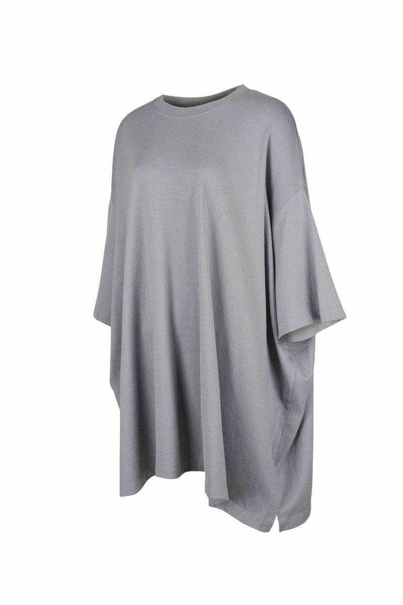 Side view of Women Oversized Single T-Shirt, made with Organic Cotton in Grey