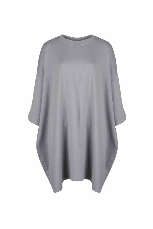 Front view of Women Oversized Single T-Shirt, made with Organic Cotton in Grey