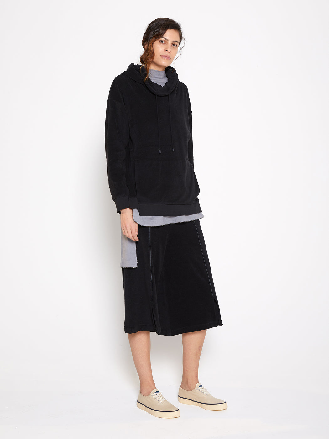 Model wearing Women Draped Collar Pullover, made with Organic Cotton in Black (Side View)