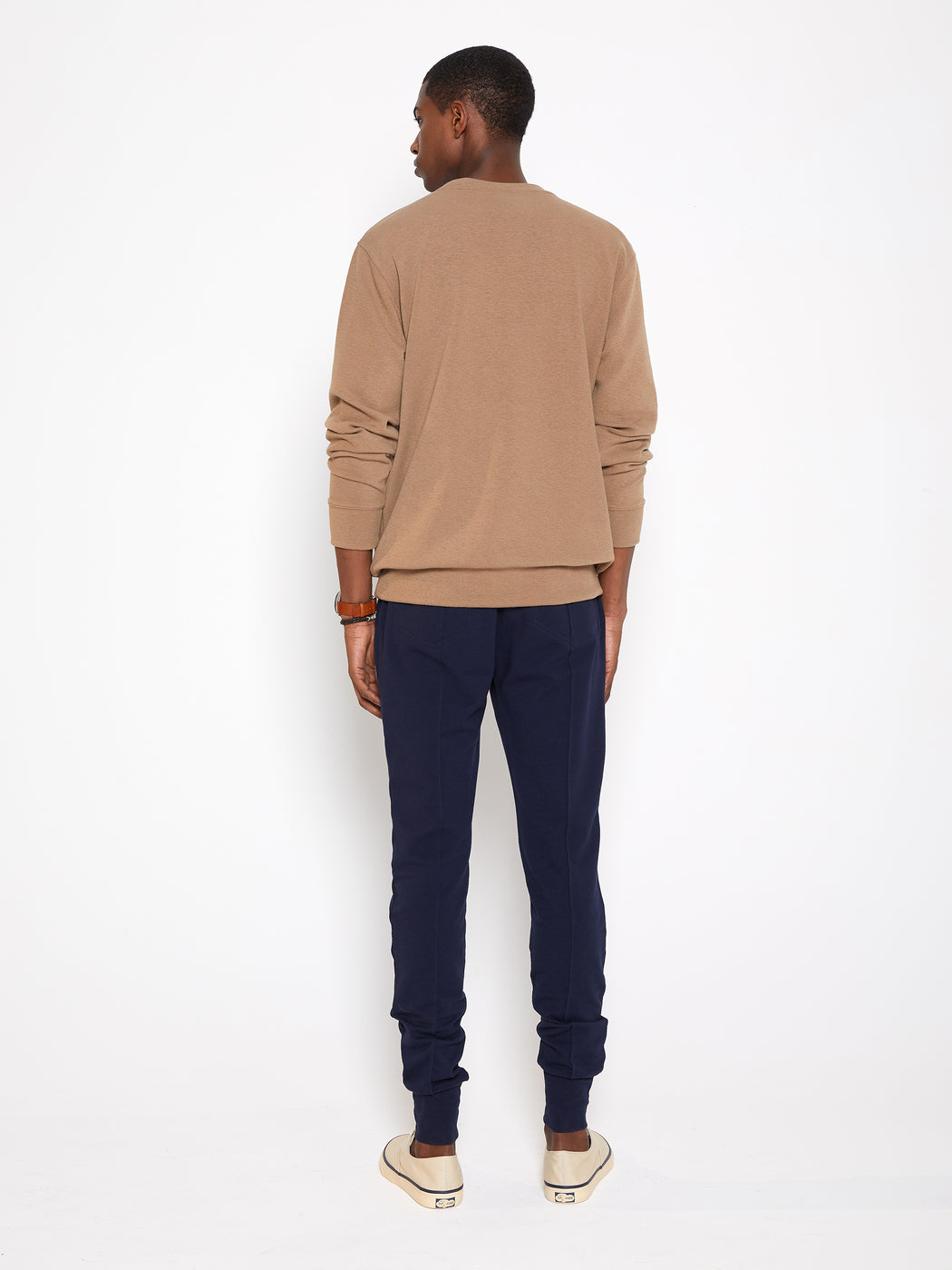 Model wearing Men Pocket Blocked Sweatshirt in Orange/ Camel (Back View)