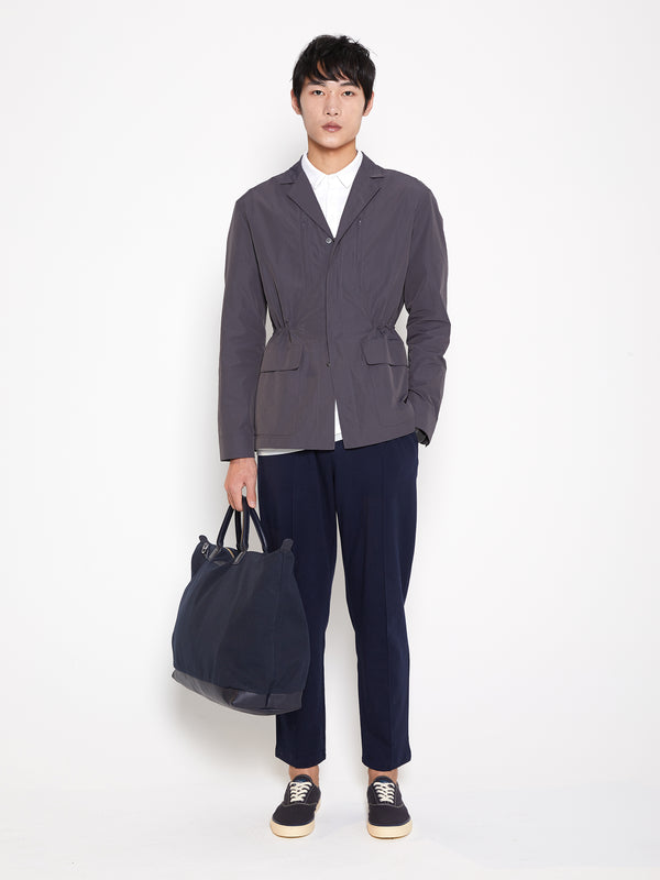 Model wearing Men Light Blazer Jacket in Grey (Front View)