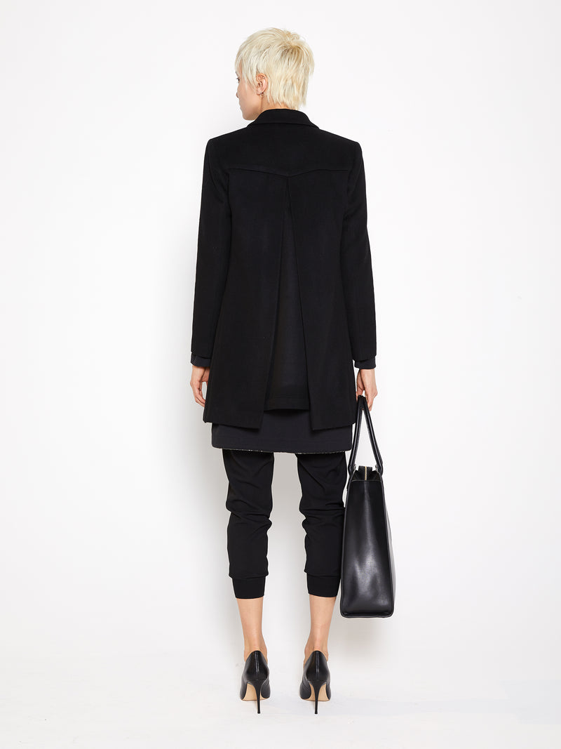 Model wearing Crepe Rib Knit Pants in Black (Back View)