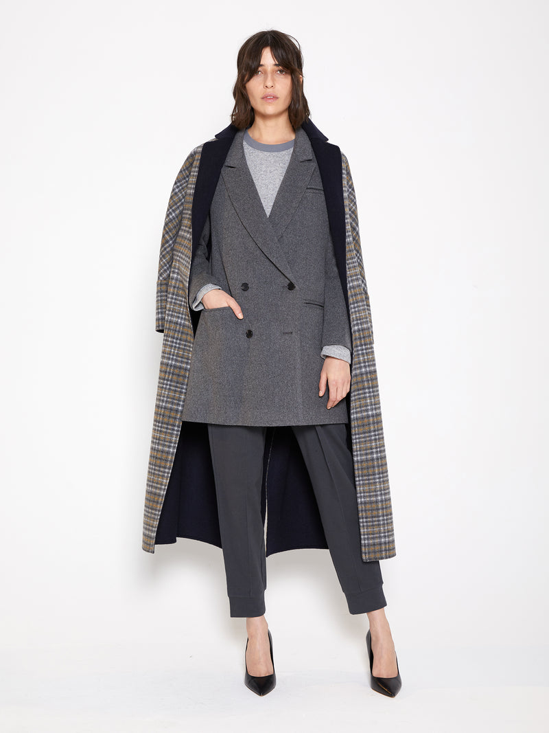Model wearing Women Reversible Handmade Wool Long Coat in Multi Plaid/ Dark Navy (Plaid Front Open View)