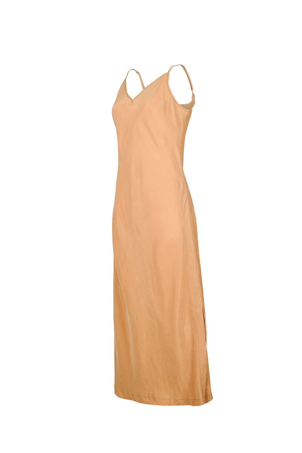 Women Cupro Sleeveless Dress, Side, Gold