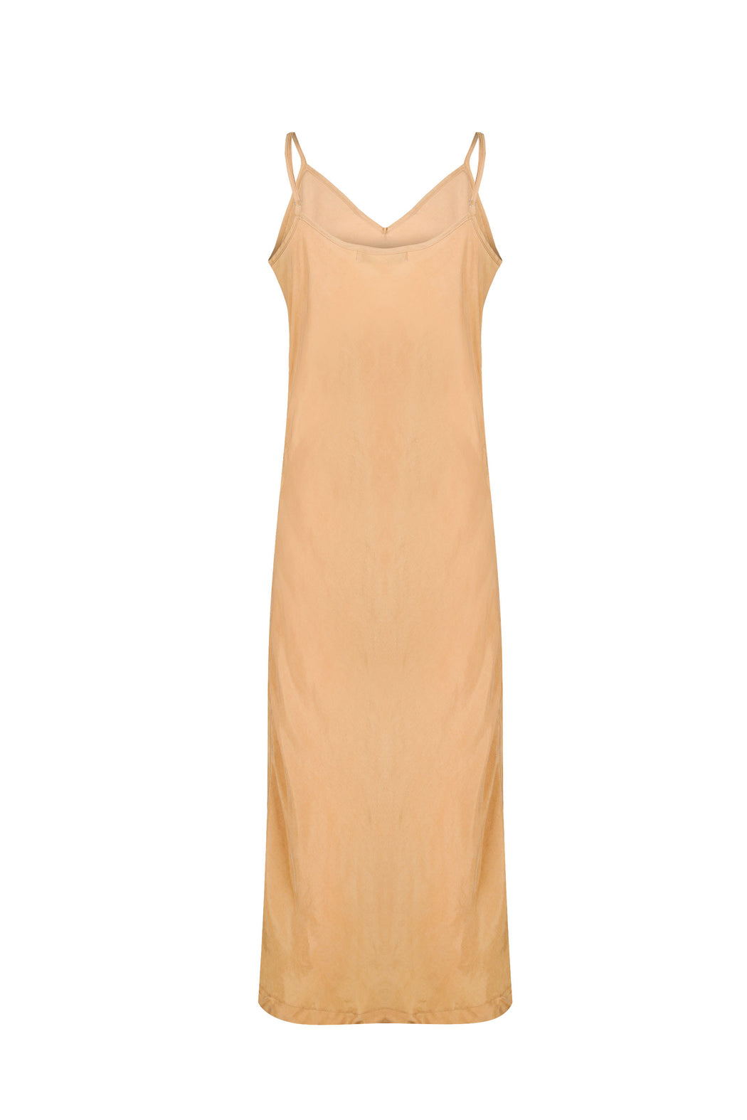 Women Cupro Sleeveless Dress, Back, Gold
