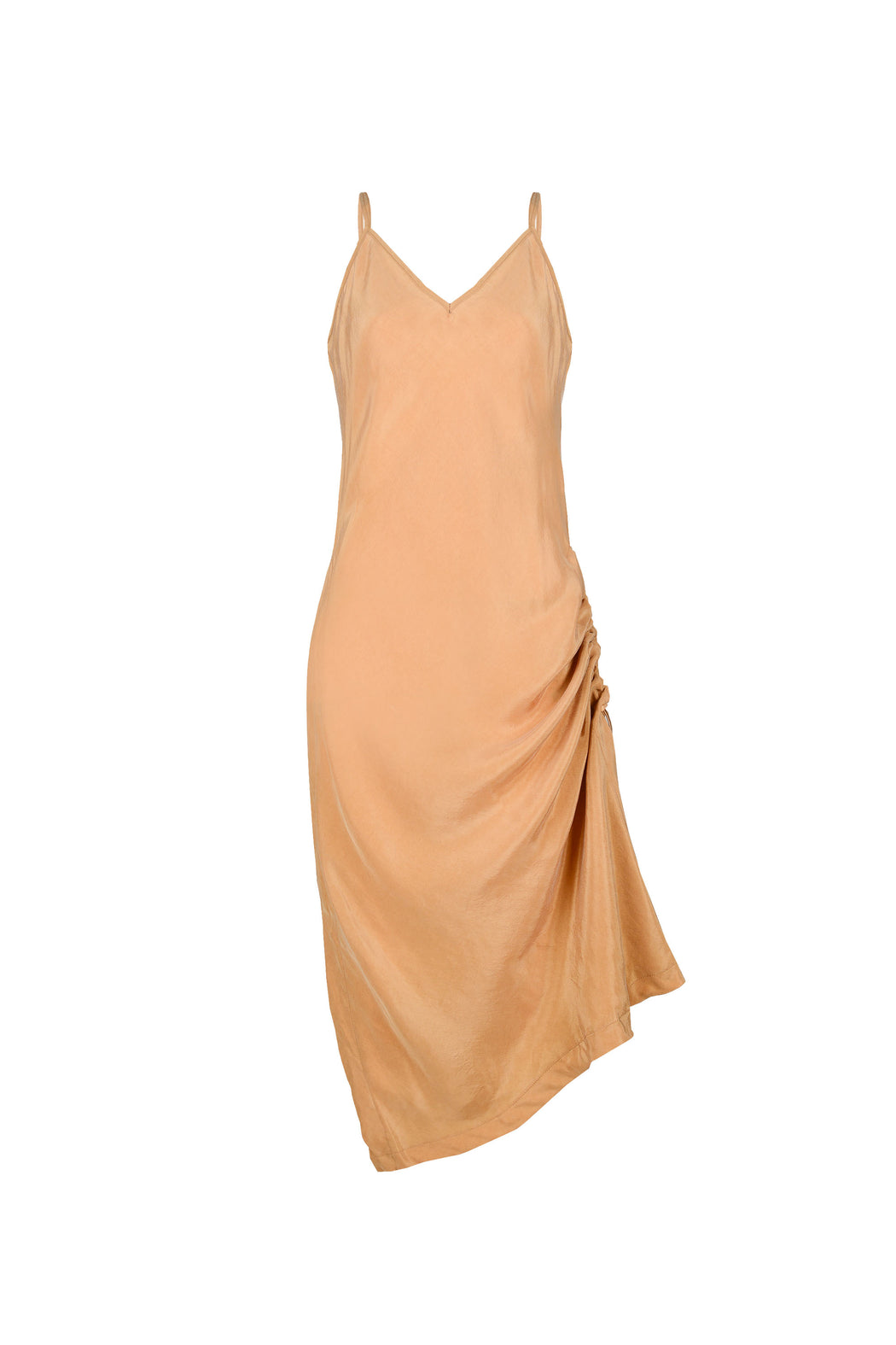 Women Cupro Sleeveless Dress, One-side Adjusted, Gold
