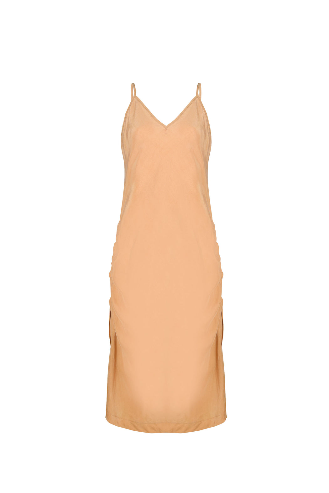 Women Cupro Sleeveless Dress, Both-side Adjusted, Gold