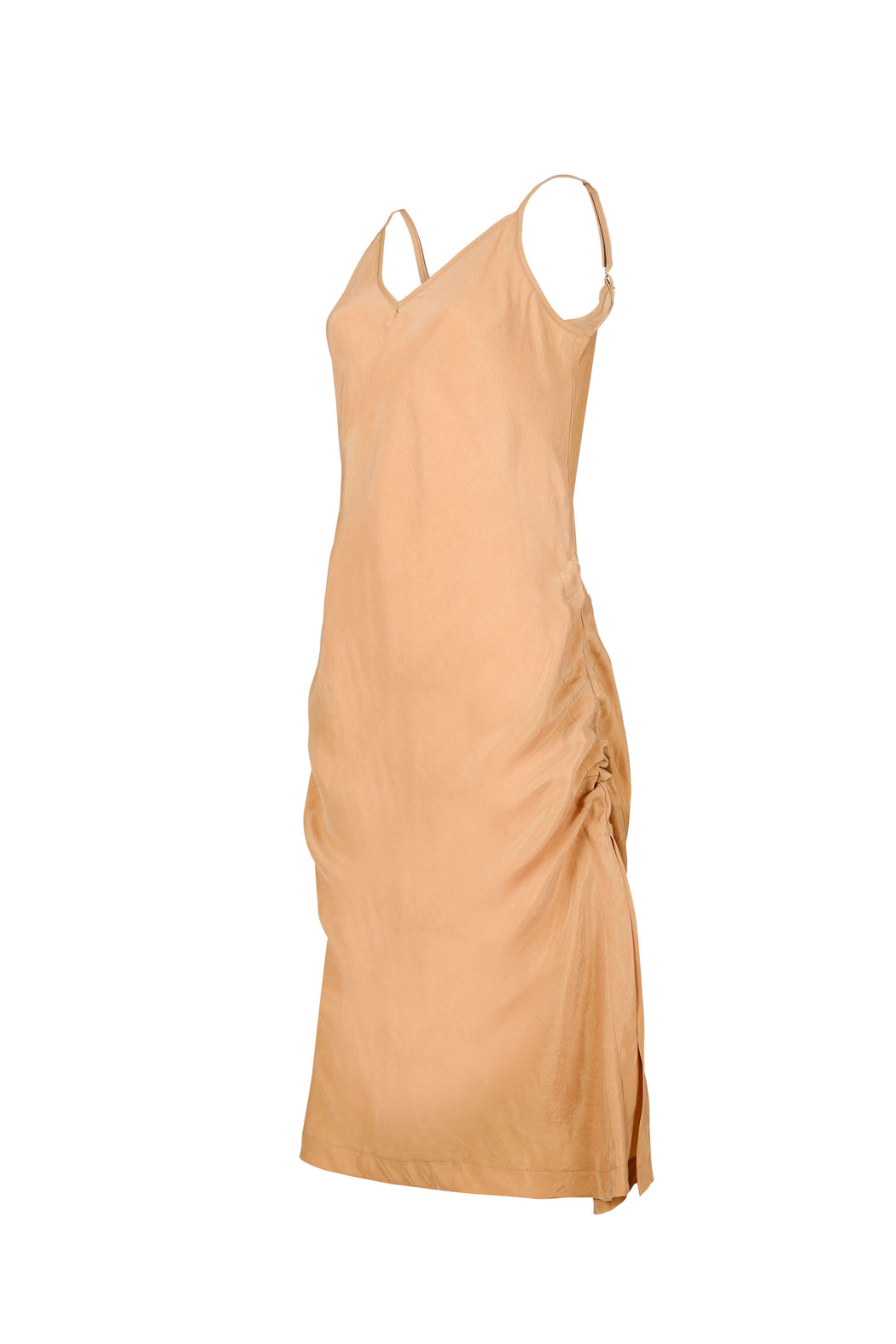 Women Cupro Sleeveless Dress, Adjusted side view, Gold