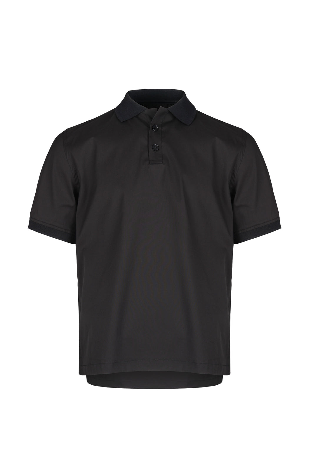 Front view of Men Contrast Collar Polo Shirt in Black