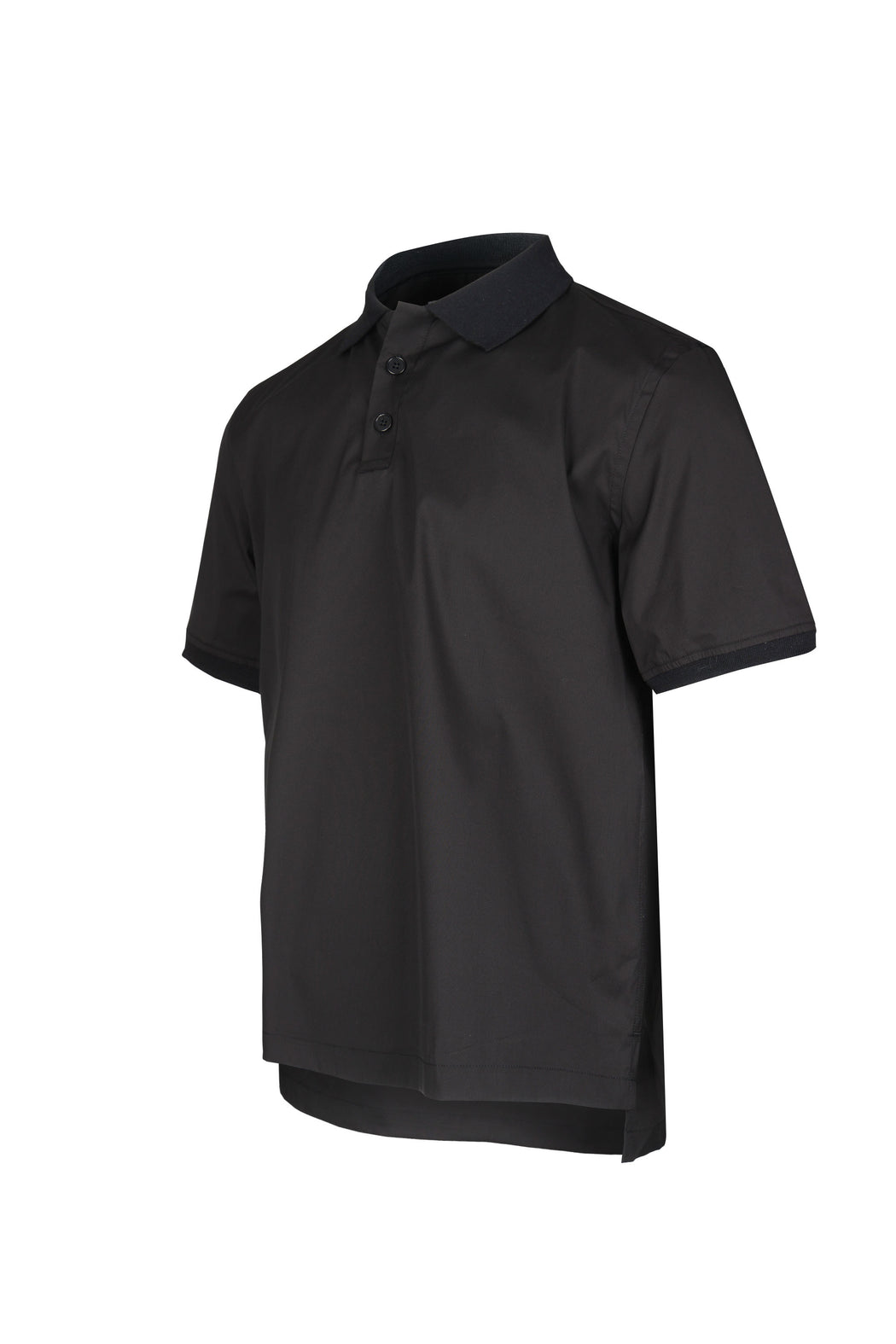 Side view of Men Contrast Collar Polo Shirt in Black