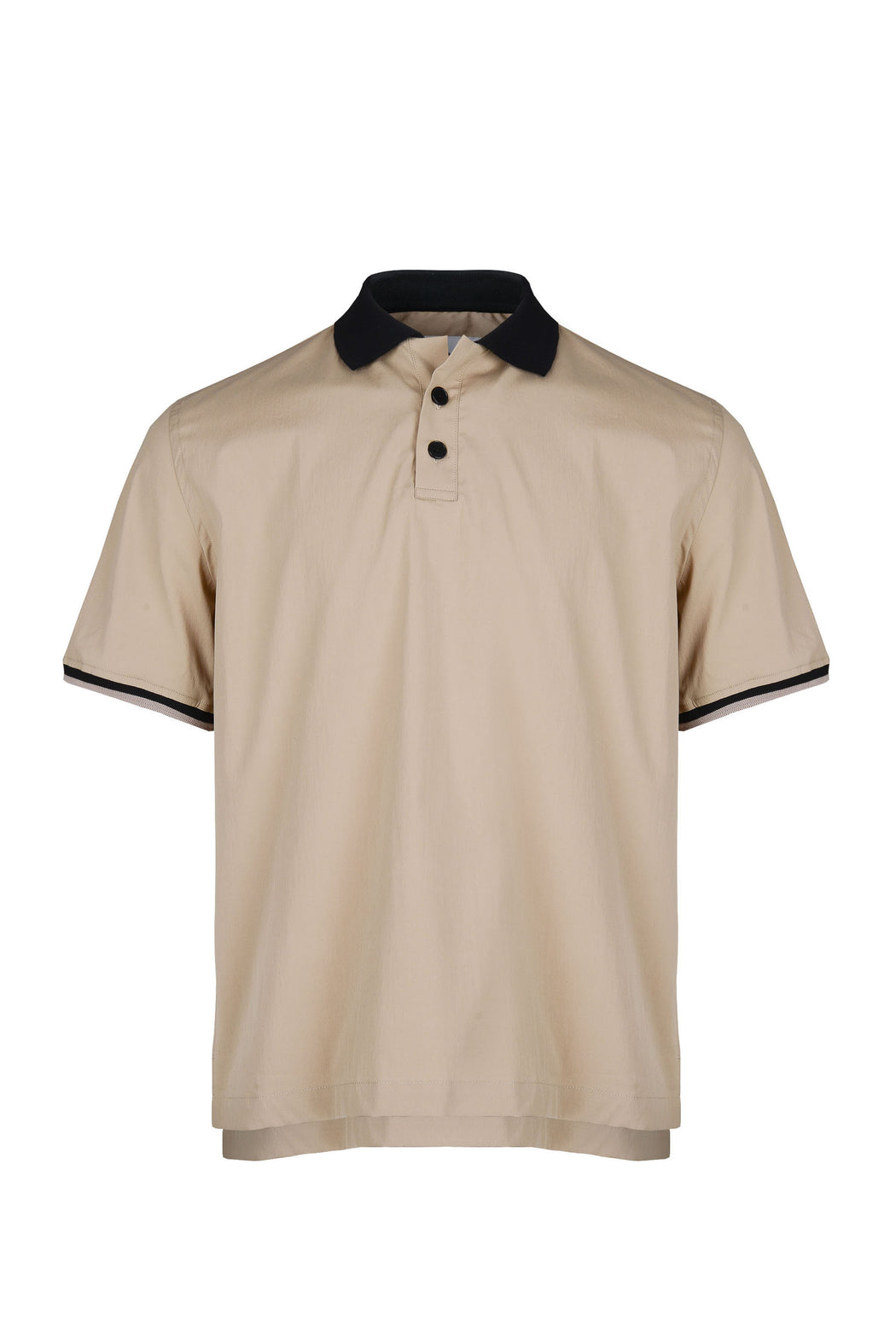 Front view of Men Contrast Collar Polo Shirt in Beige