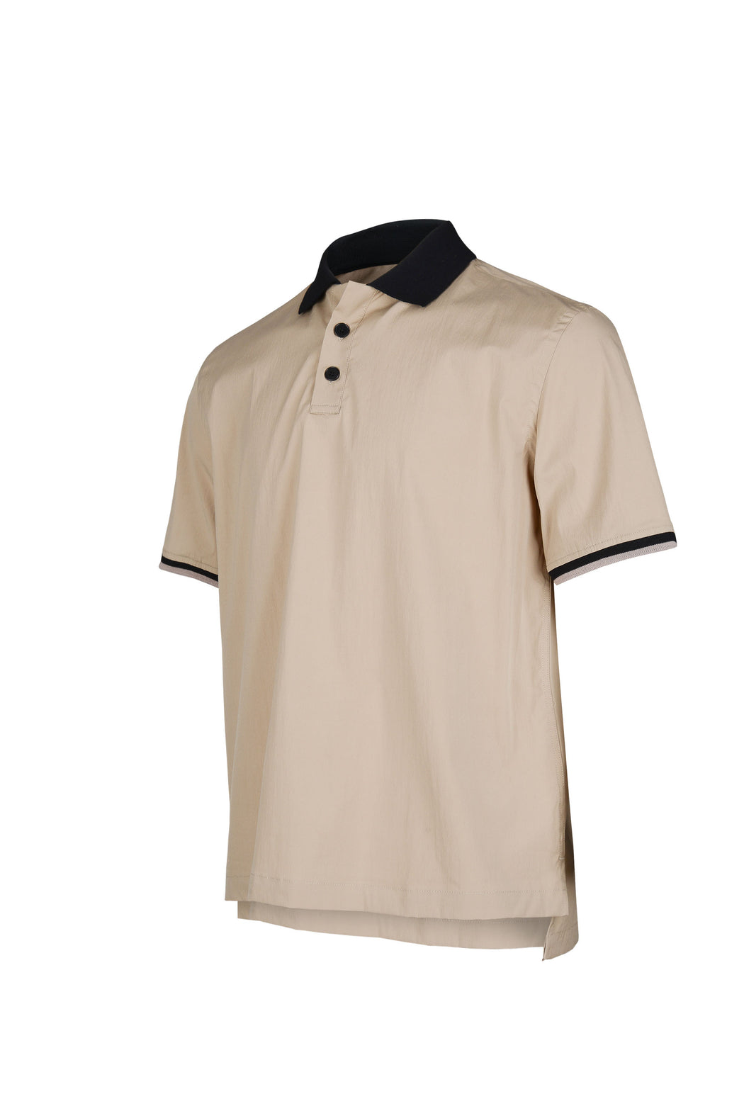 Side view of Men Contrast Collar Polo Shirt in Beige