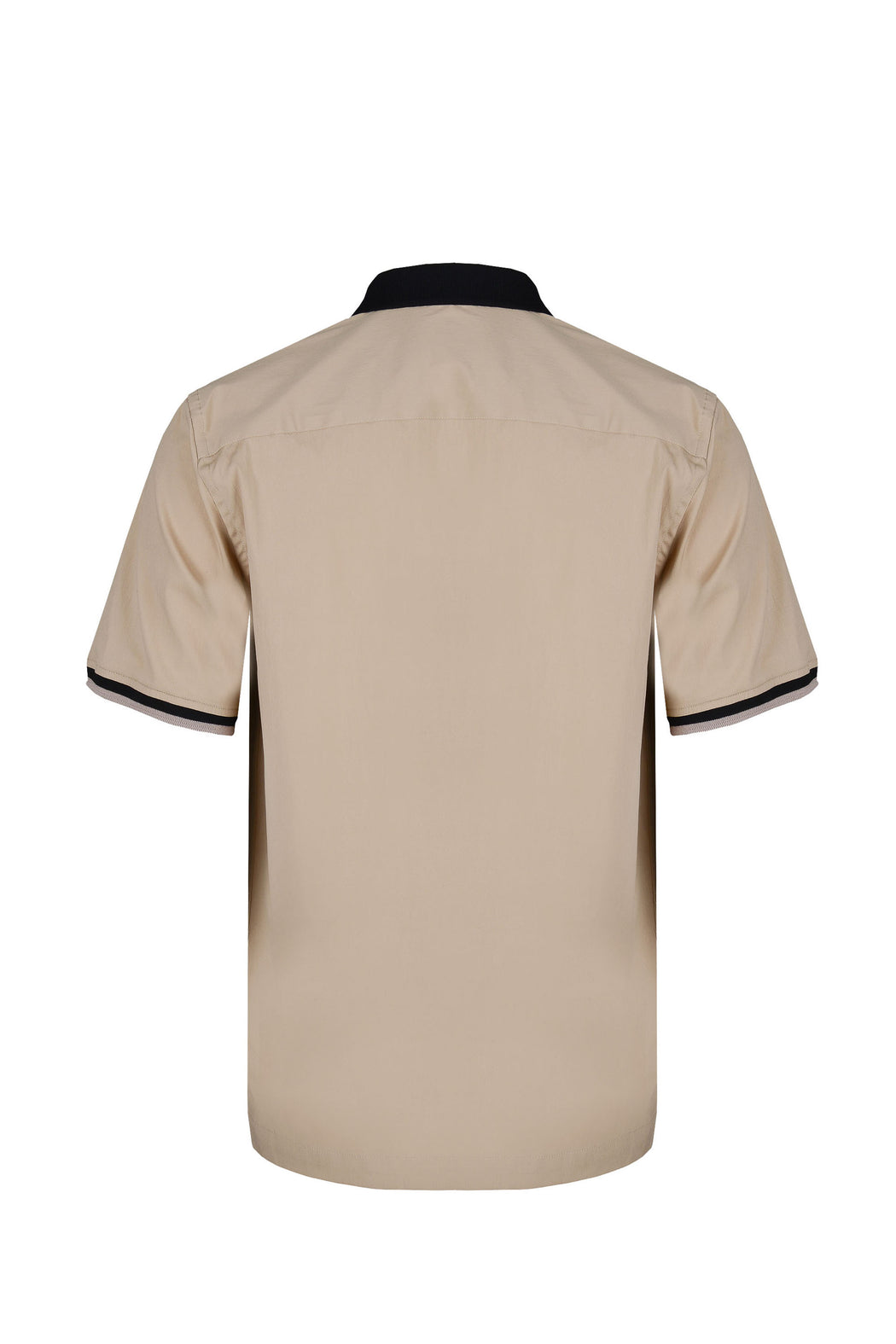 Back view of Men Contrast Collar Polo Shirt in Beige