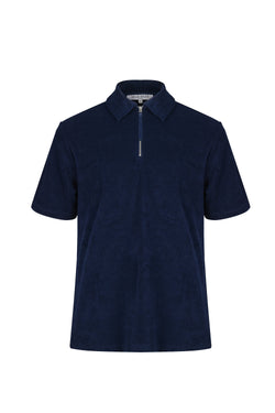Front view of Men Zipper Polo Terry Shirt in Navy