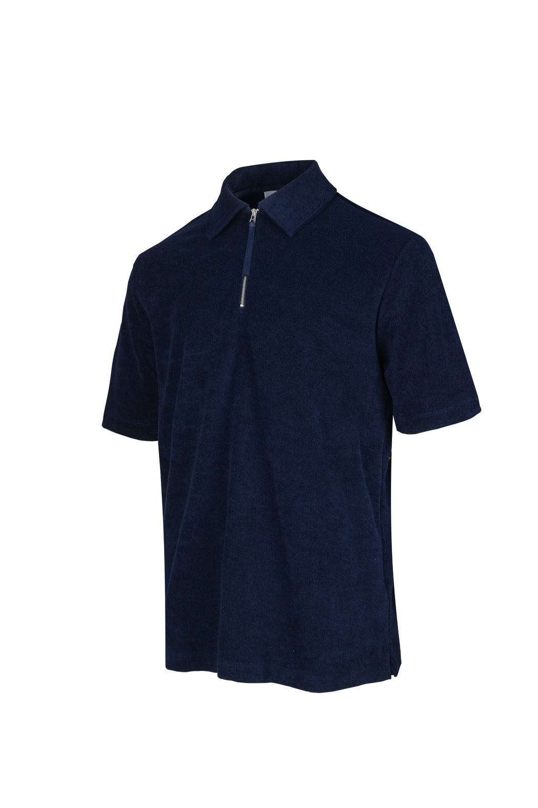 Side view of Men Zipper Polo Terry Shirt in Navy