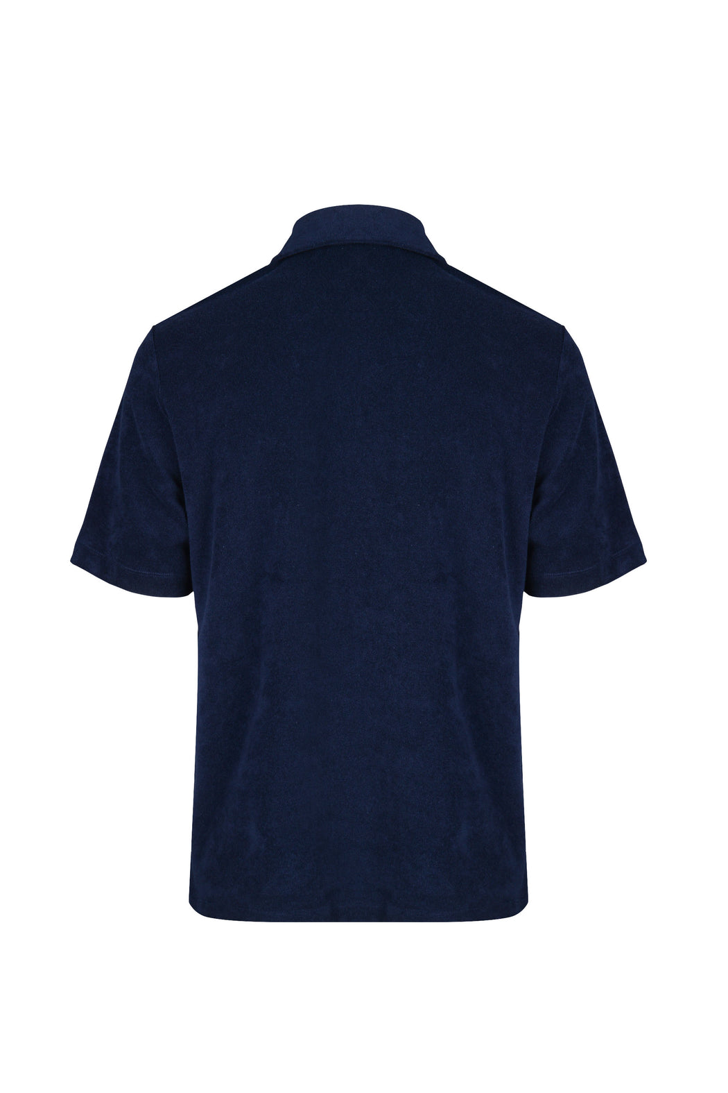 Back view of Men Zipper Polo Terry Shirt in Navy