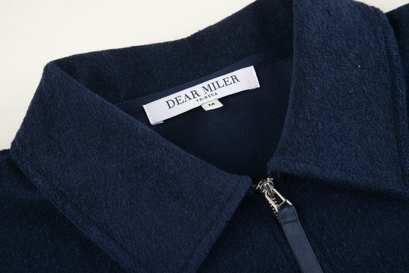Men Zipper Polo Terry Shirt in Navy (Collar Detail)