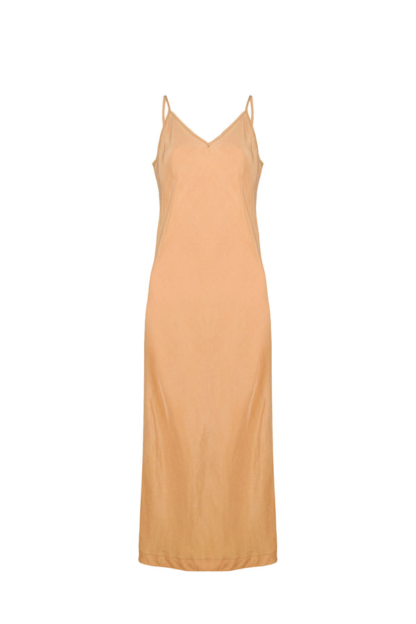 Women Cupro Sleeveless Dress, Front, Gold
