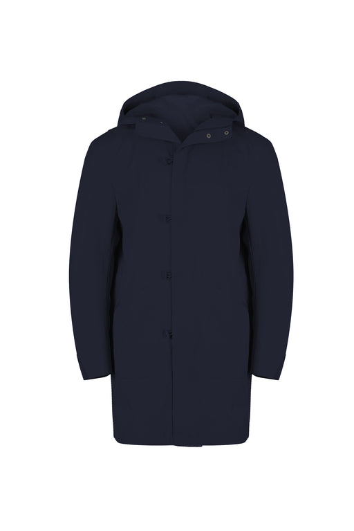 Front view of Men Cupro Oversized Parka in Navy