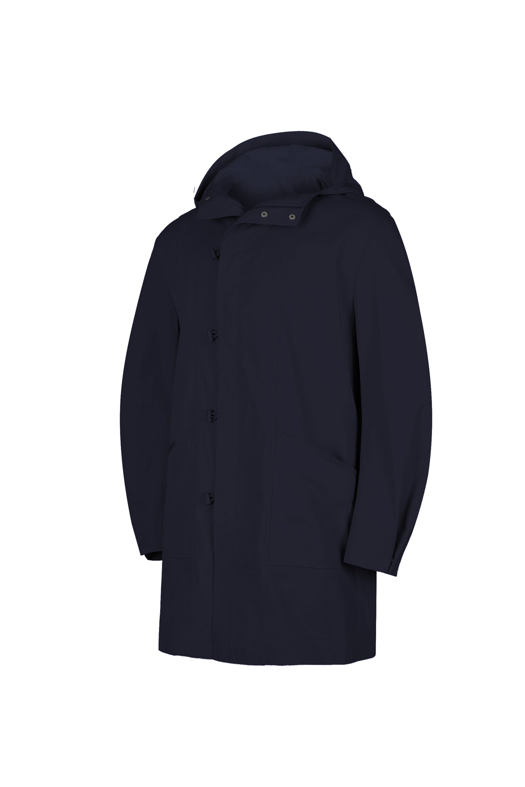 Side view of Men Cupro Oversized Parka in Navy