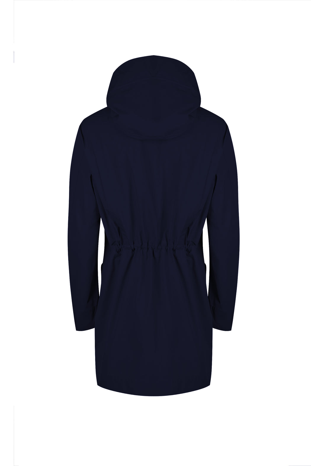 Back drawstring view of Men Cupro Oversized Parka in Navy