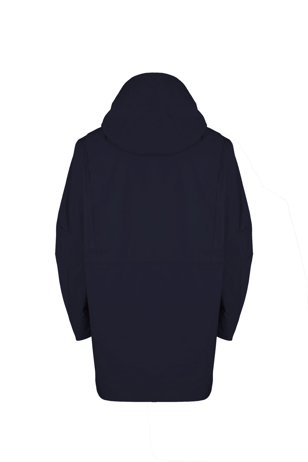 Back view of Men Cupro Oversized Parka in Navy