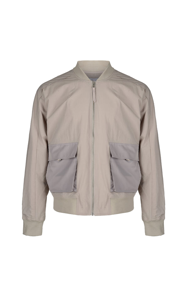Front view of Men Big Pocket Bomber Jacket in Beige