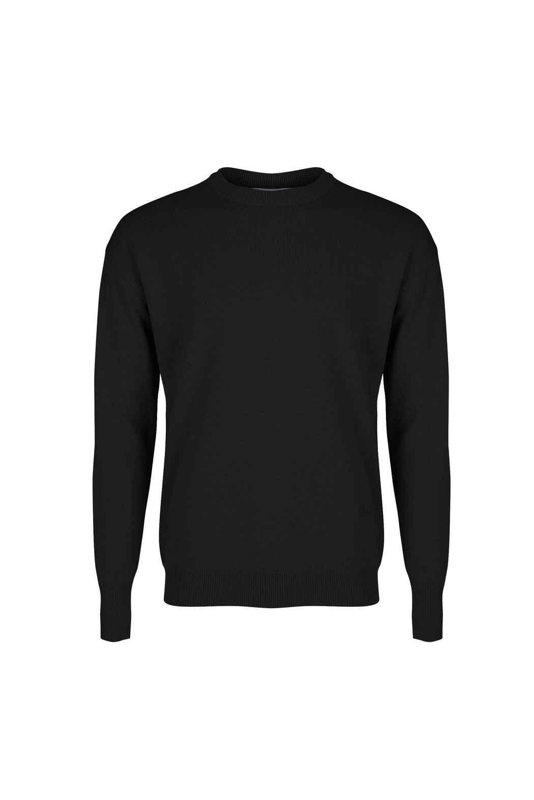 Front view of Men Embroidery Knit in Black