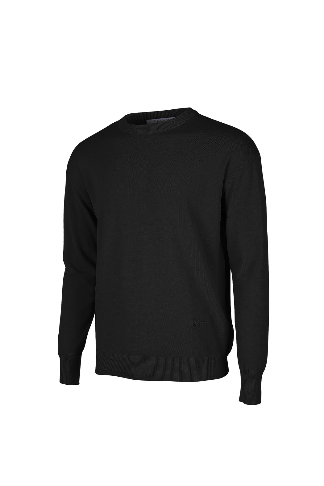 Side view of Men Embroidery Knit in Black