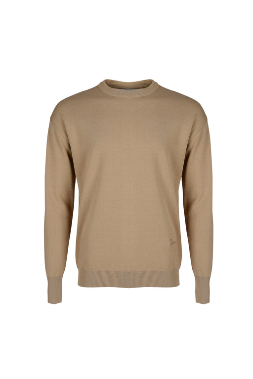 Front view of Men Embroidery Knit in Beige
